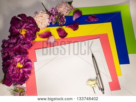 Flowers, envelope and pen on a white background