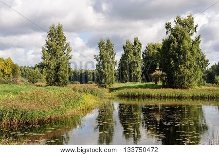 Small lake Fish near the village Petrovskoye Pushkinskiye Gory Reserve Russia
