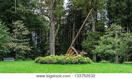 Sundial in park of the village Trigorskoye Pushkinskiye Gory Reserve Russia
