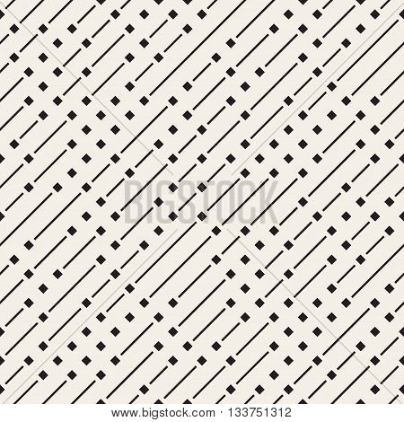 Vector Seamless Black And White Geometric Diagonal Irregular Dash Lines Pattern. Abstract Geometric Background Design