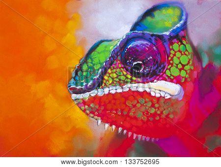 Colorful chameleon on a tree. Modern art.