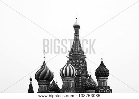 Black and white Saint Basil's Cathedral on Moscow Red Square background