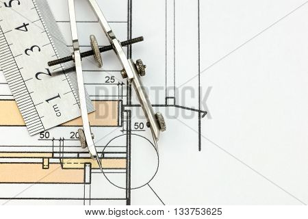 Architectural Or Technical Project Detail With Drawing Compass And Ruler