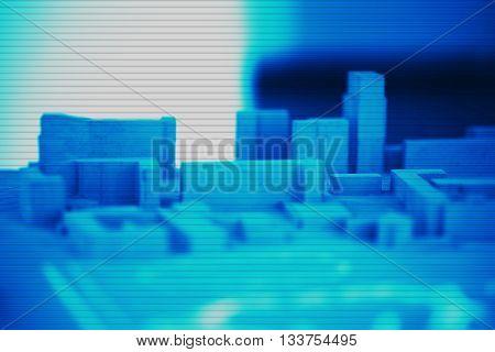 Horizontal interlaced city abstract mockup illustration background