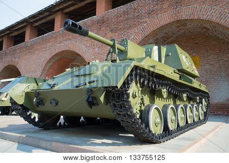 NIZHNY NOVGOROD, RUSSIA - AUGUST 27, 2016: Self-propelled artillery SU-76 close-up. Exposition of military equipment in the Kremlin in Nizhny Novgorod