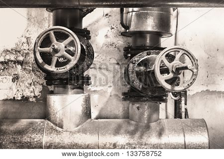 Heating System's Metal Pipes With Cast-iron Valves