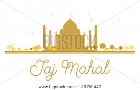 Taj Mahal golden silhouette. Simple flat concept for tourism presentation, banner, placard or web site. Taj Mahal isolated on white background