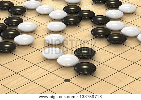 chinese traditional Go game closeup 3D rendering