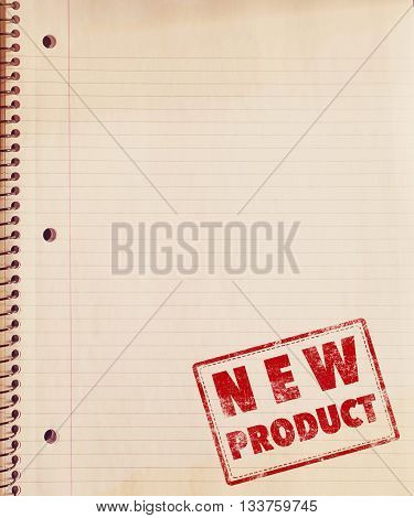 Vintage grunge page old school notebook paper with stamp word