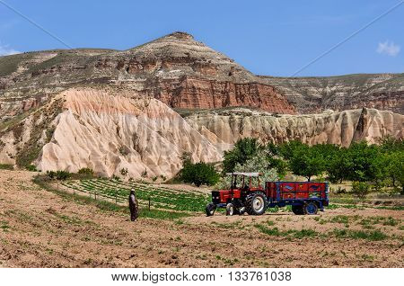 Red valley at Cappadocia, Anatolia, Turkey. Volcanic mountains in Goreme national park.
