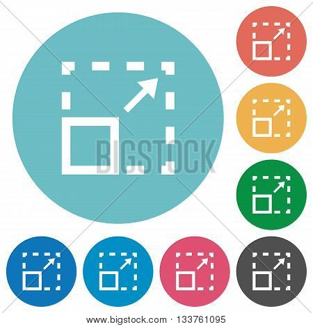 Flat maximize element icon set on round color background.