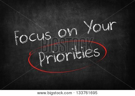 focus on your priorities words on Blackboard