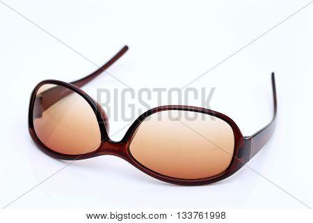 Ladies fashion sunglasses on a white background