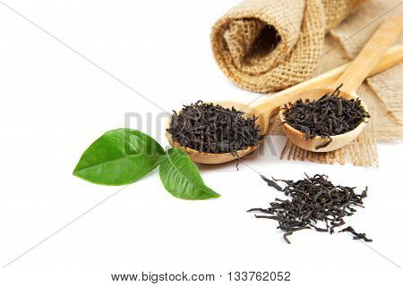 Black tea in a wooden spoon and green lemon leaves isolated on a white background.