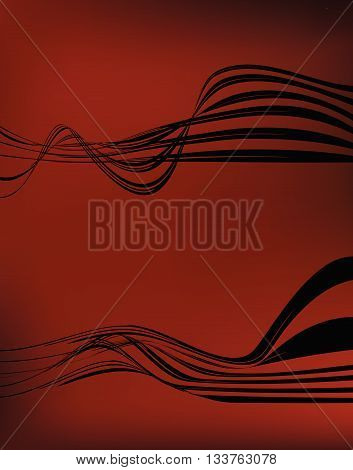 Wave Set On Red Satin Background, Wavy Design Elements