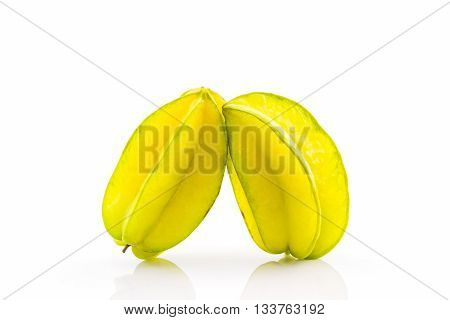 Star fruit or Carambola on white background.