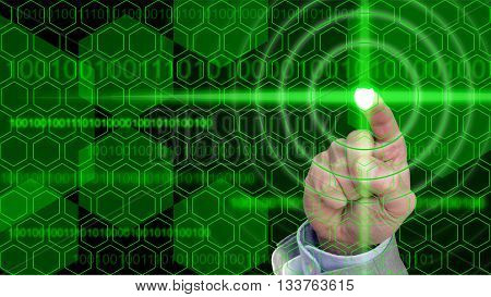 Information security concept with a hexagon grid and a shield activated by a press of a business hand