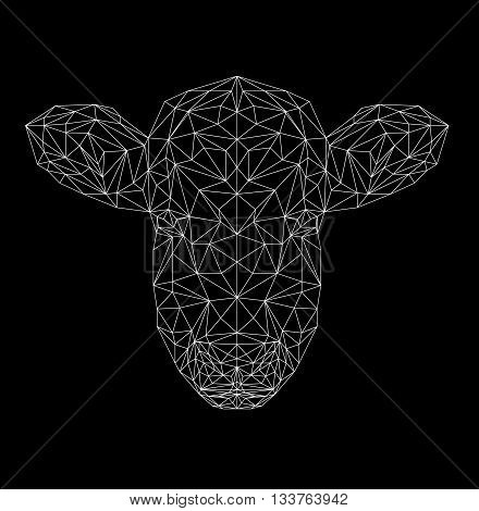 Vector cow thin line style. Cow low poly design illustration. Abstract mammal animal. Pet. Cow face silhouette for printing on t-shirts.