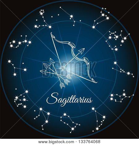 Zodiac sign sagittarius and circle constellations. Vector illustration