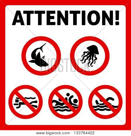 Prohibition swimming sign with text. Attention swimming people shark and jellyfish signd. Vector illustration
