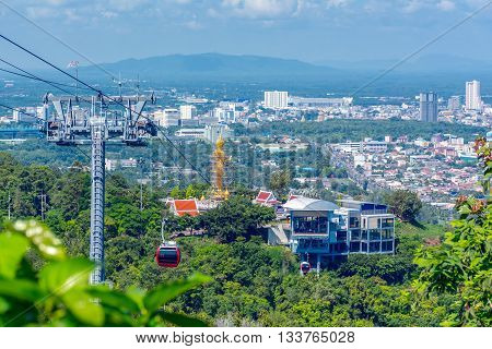 This image is a cable car in the city of Hat Yai .