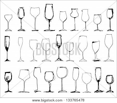 Wine glass set - collection of sketched wineglasses