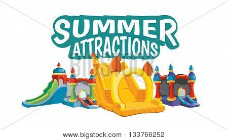 Vector emblem of inflatable castles and children hills on playground. Illustration isolate on white background