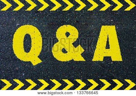 Q & A yellow word on road
