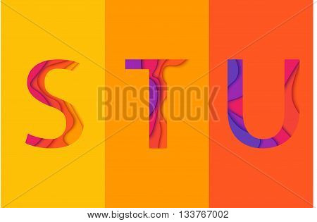 Letters S T U design template element. Material design Characters STU vector logo icon and sign.