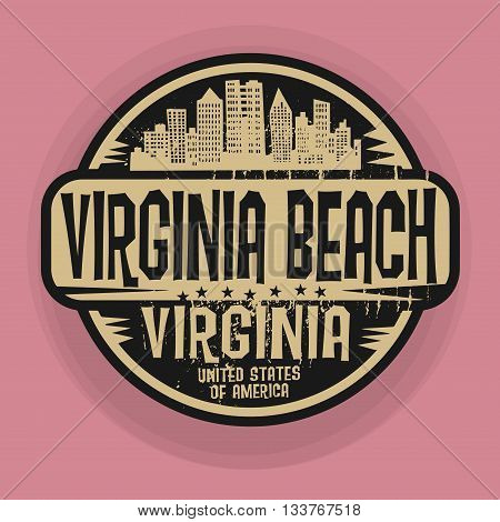 Stamp or label with name of Virginia Beach, Virginia, vector illustration