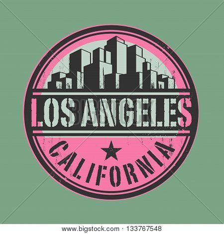 Stamp or label with name of Los Angeles, California, vector illustration