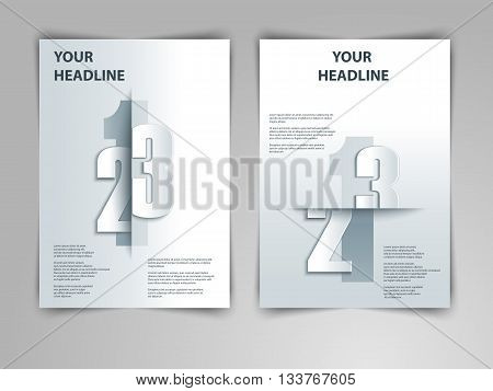 Abstract geometric design with 123 numbers in 3d, paper, origami style. Vector gray template layout for magazine cover, brochure, flyer, booklet and annual report in A4 size.