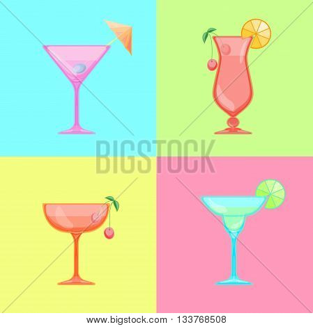 Set of cocktail icons. Martini glass with olive. Margarita cocktail glass with lime. Saucer and champagne glass with cherry. Hurricane cocktail, pina colada glass. Candy Relax summer background.