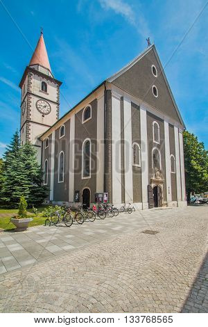 St Nicolas church in old baroque town of Varazdin, Croatia