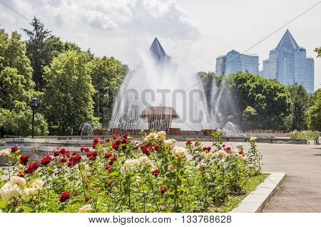 Fountain in the park of the first President Almaty Kazakhstan