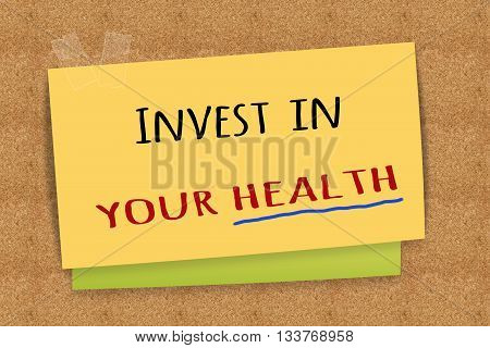 Invest in your health on sticky note