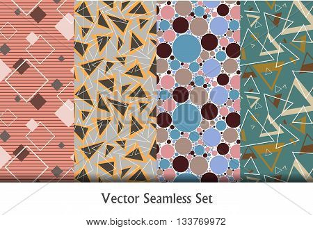 colorful vector seamless patterns set. Elements for your design. Geometric vector seamless retro patterns. Eps10
