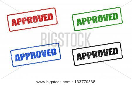 approved stamp 4 colors on white background