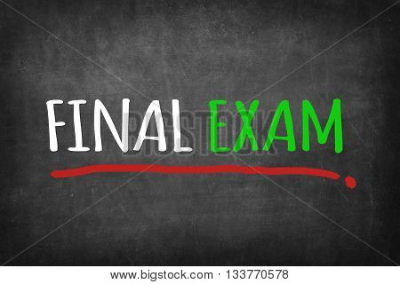 FINAL EXAM message - on Blackboard background