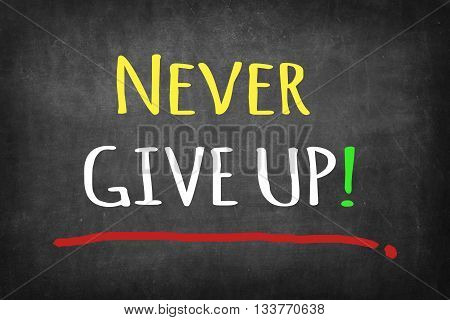 Never Give Up colorful words on blackboard background
