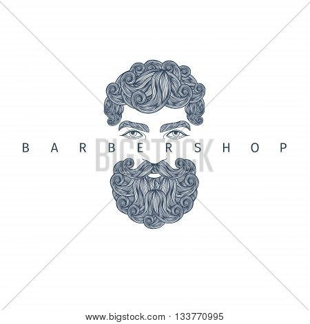 Concept of barbershop. Hand Drawn Mustache Beard and Hair Style.