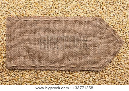 Pointer of burlap lying on a barley background with place for your text