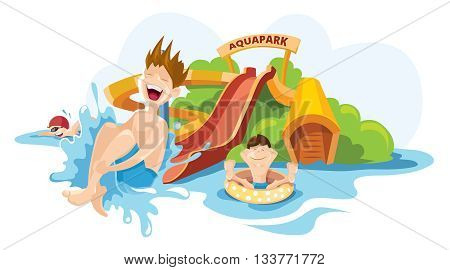 Vector illustration of water hills in an aquapark. The cheerful boy rides on water hills. Picture isolate on white background