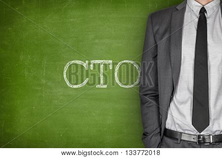 CTO on blackboard with businessman in a suit on side