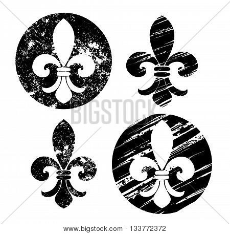 Set of Fleur-de-lis painted in black on a white background. Sketch style. Drawing in black paint. Grunge Texture.
