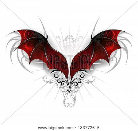 Red textured dragon wings on a white background. Gothick style