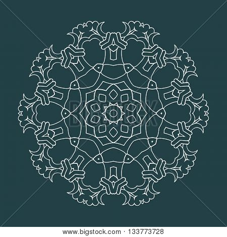 Celtic knots ornament. Vector illustration on green background. Sacred geometry element