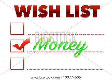 Wish List - Money Sign on white background
