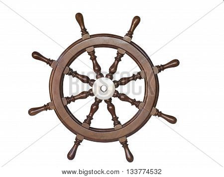 Vintage wooden steering wheel of the ship isolated on white background.