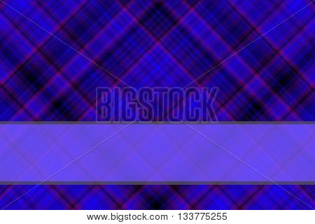 Dark blue and black checkered illustration with blue banner